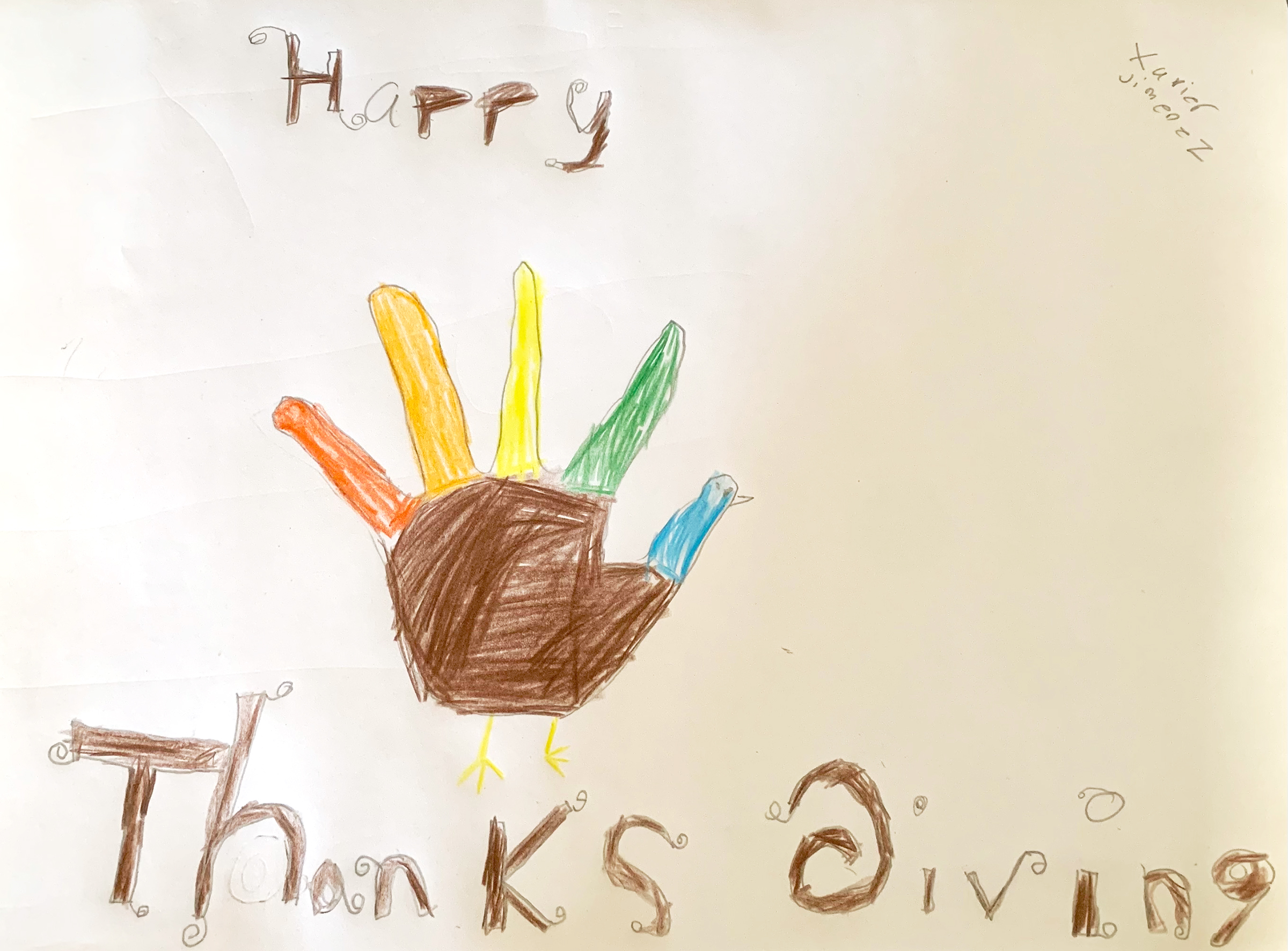"""Xavier J., Age 7, """"Excited for Thanksgiving,"""" Colored Pencil, Salinas Clubhouse"""