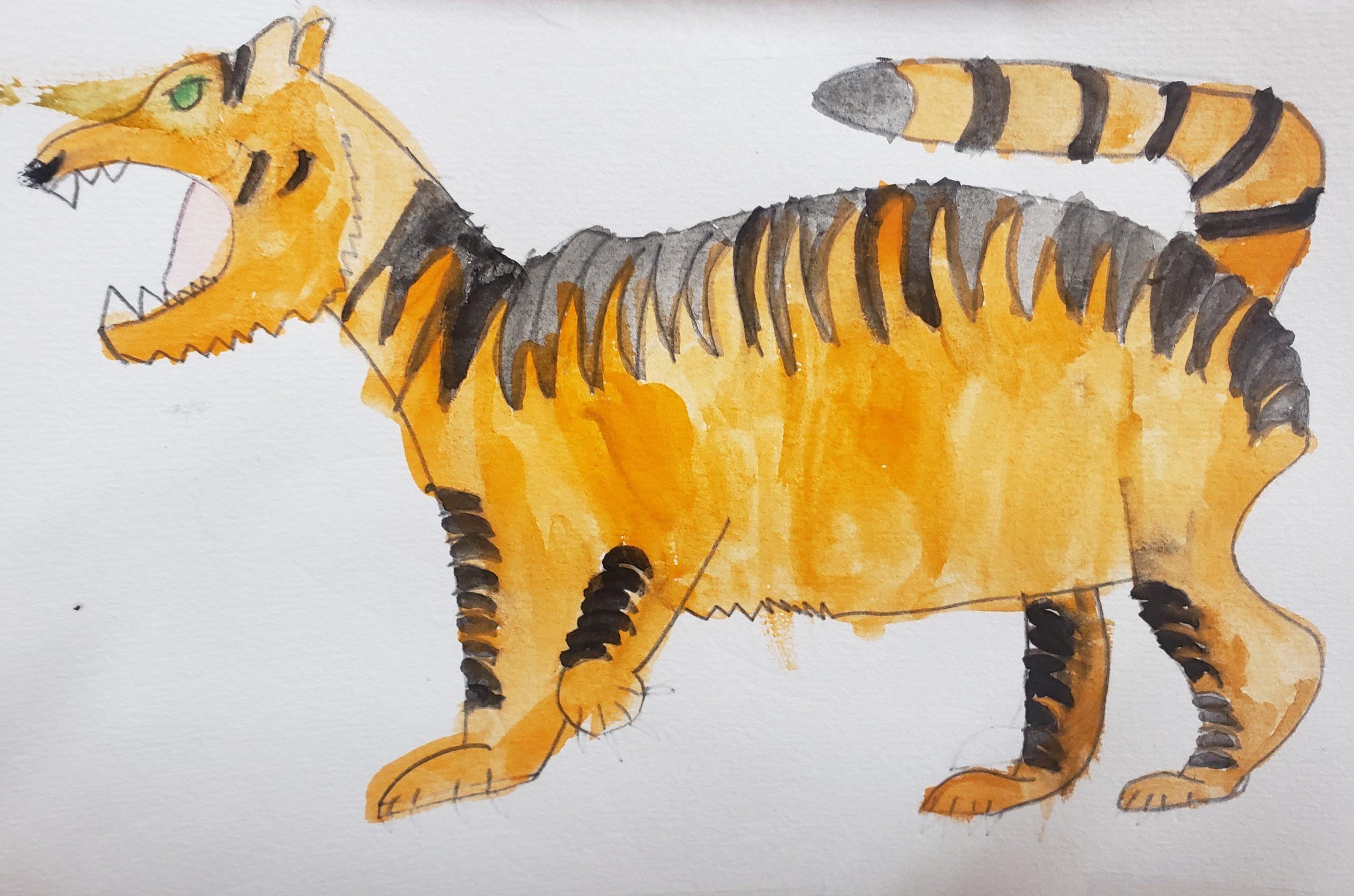 SEA Lana M 9 Bearcat with Stripes Watercolor