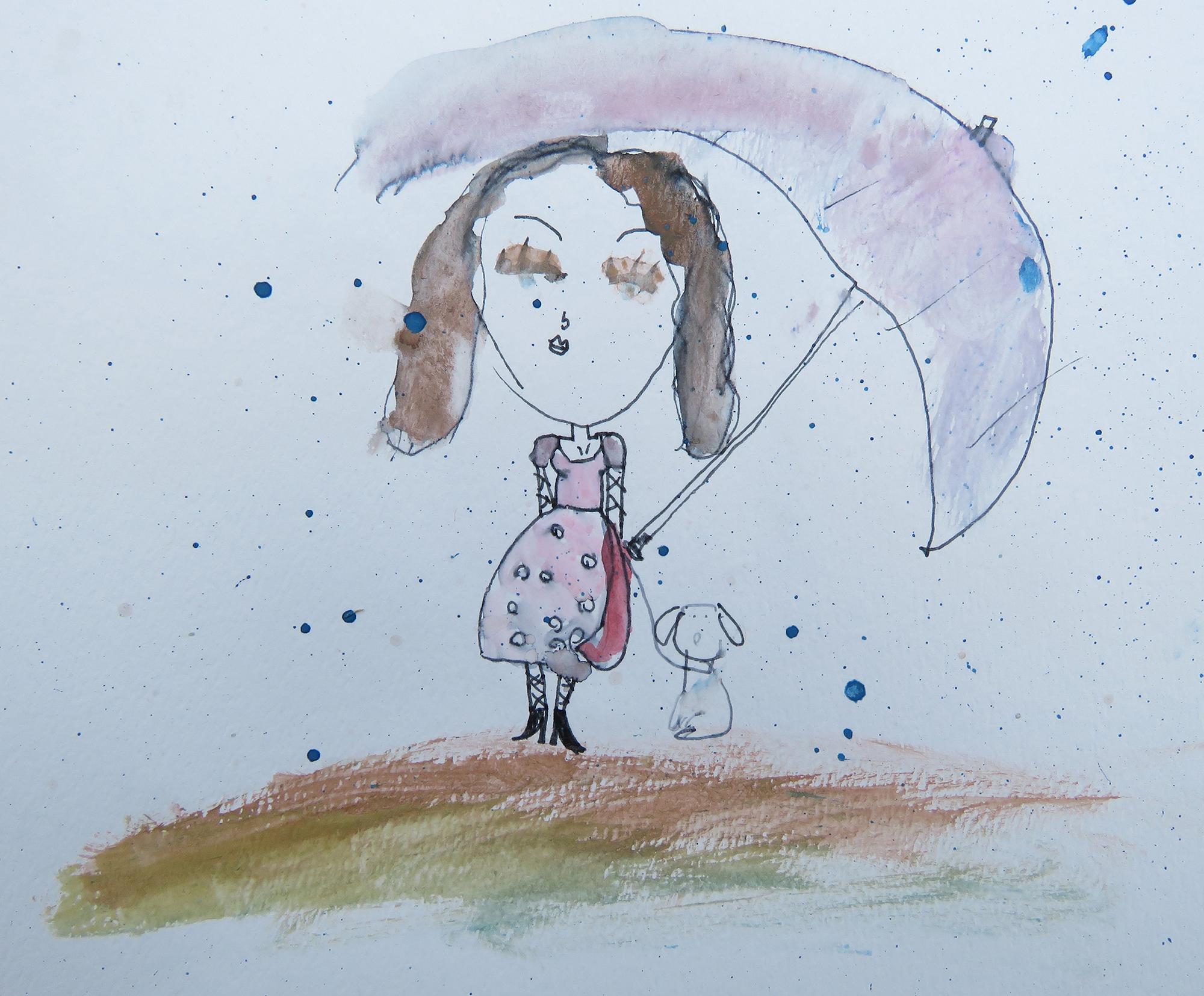 SEA Salome R 9 Girl with Umbrella Watercolor