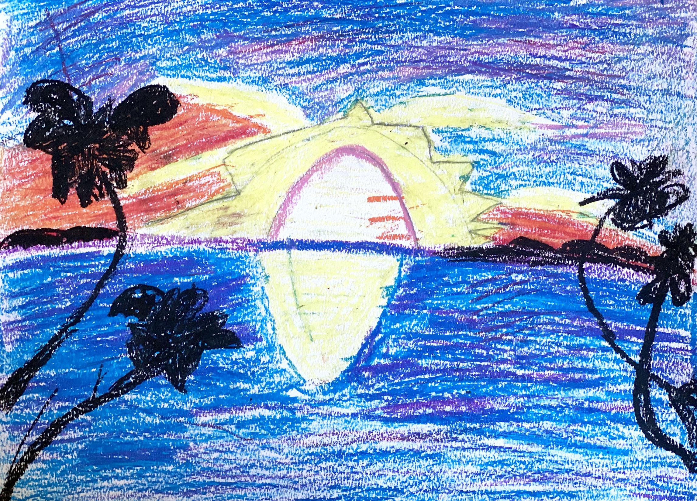 VIR Cordelia D 10 The Sunset In Paradise oil pastel